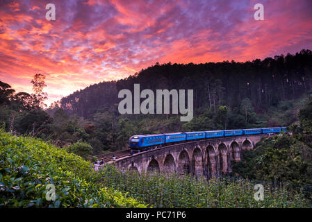 Scenic train ride in Sri Lanka - Stock Photo