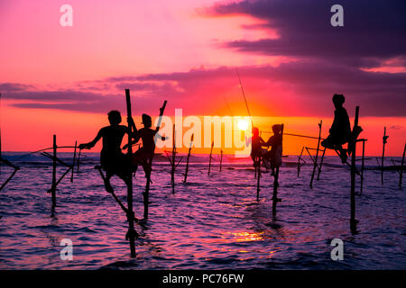 Traditional fishermen at the sunset in Sri Lanka - Stock Photo