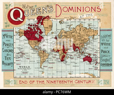 A map of the world, showing  the British Empire coloured  in red at the end of the  nineteenth century.      Date: late 19th century 602 The-queens-dominions - Stock Photo