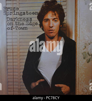 Bruce Springsteen   -  Darkness On The Edge Of Town  -  Vintage vinyl album cover - Stock Photo