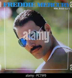 Freddie Mercury   -  Mr. Bad Guy  -  Vintage vinyl album cover - Stock Photo