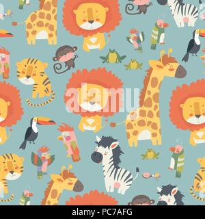 Happy jungle animals seamless pattern - Stock Photo