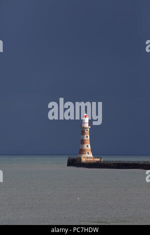 Roker Pier just into the North Sea, at the mouth of the River Wear, in Sunderland, England. - Stock Photo