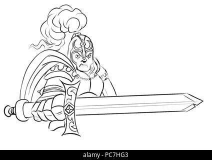 fantasy knight mascot - Stock Photo