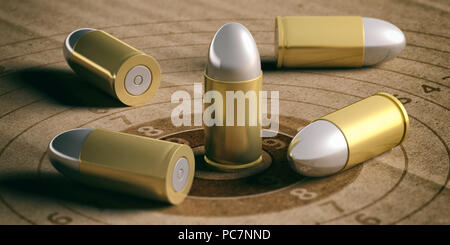 Bullets on shooting target with numbers, recycling carton paper. 3d illustration - Stock Photo