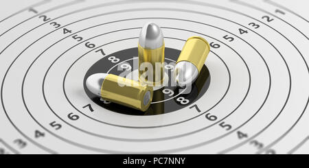 Bullets on paper shooting target with numbers. 3d illustration - Stock Photo
