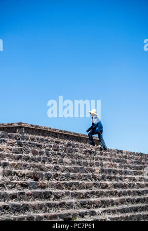 Temple of the Feathered Serpent, Teotihuacan, former pre-Columbian city and an archaeological complex northeast of Mexico City, Mexico - Stock Photo