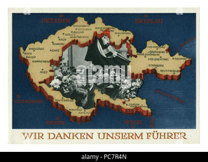 German historical postcard: Plebiscite on the accession of the Sudetenland. Annexation of portions of Czechoslovakia. 29 September 1938, Germany - Stock Photo