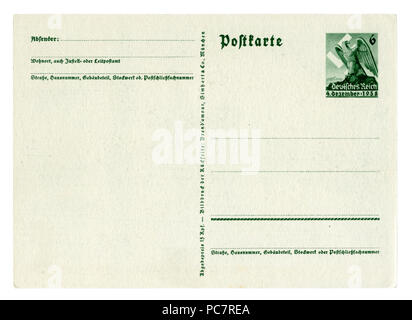 Back of historical german postcard (PC7R4N): Plebiscite on the accession of the Sudetenland 1938,  Eagle Imprinted stamp, blank card, Germany, DR - Stock Photo