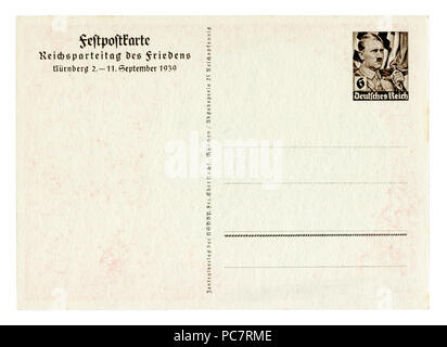 Back of historical german postcard (PC7RH6): The 11th Party Congress in Nuremberg in 1939,  Hitler Imprinted stamp, blank card, Germany, Third Reich - Stock Photo