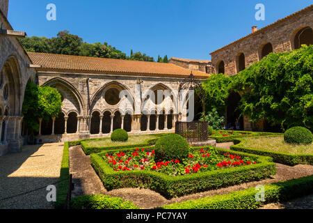 Cloister of Abbaye Sainte-Marie de Fontfroide or Fontfroide Abbey near Narbonne, Aude department, Occitanie, France, West Europe - Stock Photo