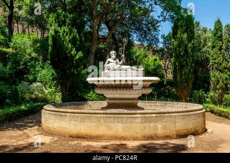 Garden of Abbaye Sainte-Marie de Fontfroide or Fontfroide Abbey near Narbonne, Aude department, Occitanie, France, West Europe - Stock Photo