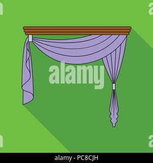 Curtains with drapery on the cornice.Curtains single icon in flat style vector symbol stock illustration . - Stock Photo