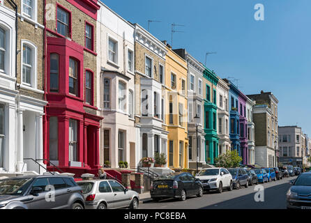 Colourful House Fronts on Lancaster Road in Notting Hill area, London, England, UK - Stock Photo