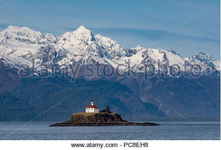 The Eldred Rock Lighthouse, a historic octagonal lighthouse adjacent to the Lynn Canal. - Stock Photo