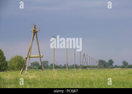 Wooden poles and power line in green field - Stock Photo