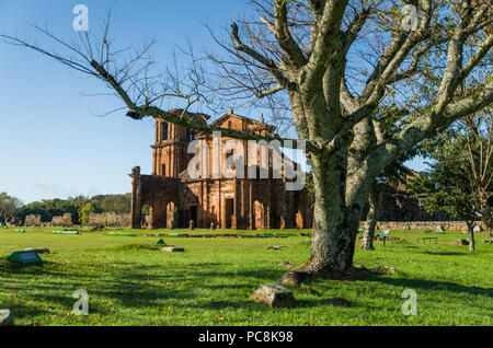 Part of the UNESCO site - Jesuit Missions of the Guaranis: Church, Ruins of Sao Miguel das Missoe, Rio Grande do Sul, Brazil. - Stock Photo