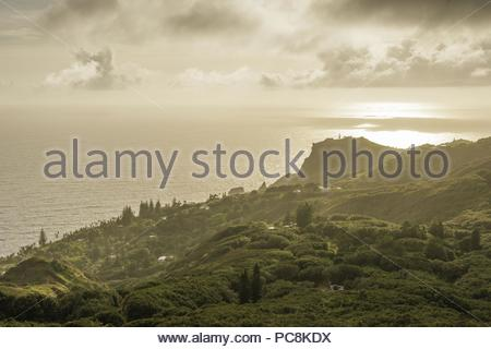 A panoramic view of Adamstown, the island's only settlement, from the road to Highest Point. - Stock Photo