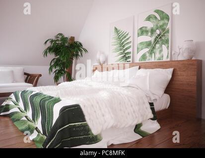 Green vintage bedroom interior, 3d render - Stock Photo