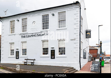 Building exterior of The Leaping Salmon, a local pub and restaurant by the River Tweed at Bank Hill, Golden Square in Berwick-upon-Tweed, England, UK - Stock Photo