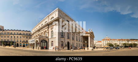 Lisbon, Portugal - July 9th, 2018: Panoramic view of the Teatro Nacional Dona Maria II and the Plaza Rossio in Lisbon downtown, Portugal. - Stock Photo