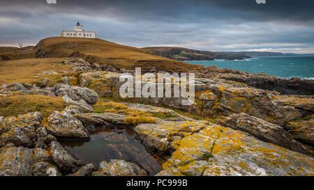 coast,lighthouse,scotland,strathy point - Stock Photo