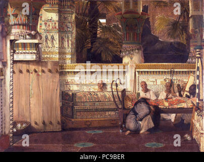 Egyptian temple with a kneeling grieving widow. Priests sing and play harp near the body of the deceased.  *oil on panel  *74.9 x 99.1 cm  *signed: L. Alma Tadema 1872 58 Lourens Alma Tadema - De Egyptische weduwe. - Stock Photo