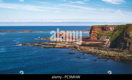 Landscape of the sea bay and rocks, Oxroad Bay, East Lothian, Scotland, United Kingdom - Stock Photo