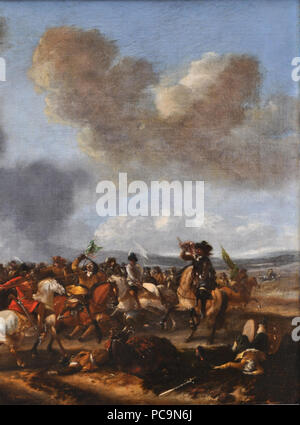 19 A cavalry battle scene by Philips Wouwerman (detail) 03 - Stock Photo
