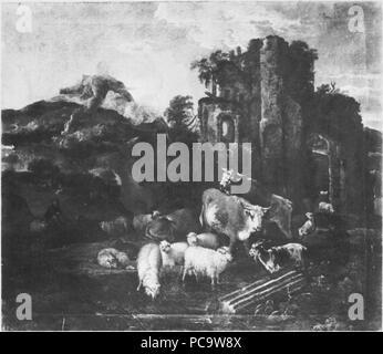 [Bildindex  der Kunst und Architektur] 302 Italianate Mountainous Landscape with Animals near a Ruin by Michiel Carrée - Stock Photo
