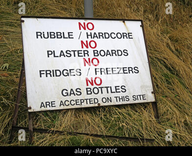 No Rubble, fridges, gas bottles sign, at Sandy Lane, Stockton Heath Recycling & Household waste centre, Warrington, Cheshire, North West England, UK