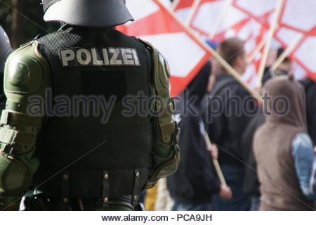 Police monitor a right-wing march in Coburg, Germany - Stock Photo