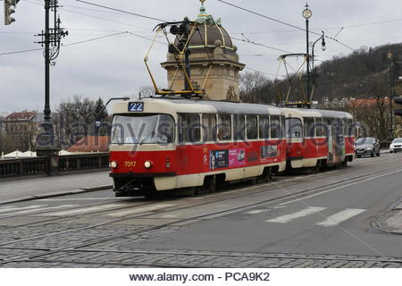 A tram in prague passing across the city - Stock Photo