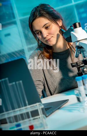 Female scientist researcher conducting an experiment in a laboratory - Stock Photo