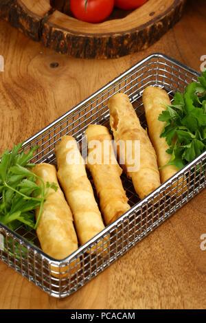 Deep Fried Turkish Cigar Shaped Rolls - Sigara Boregi - Stock Photo