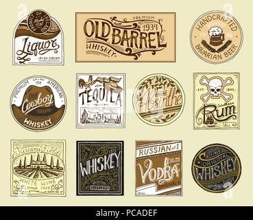 Vintage American badge. Absinthe Tequila Vodka Liqueur Rum Wine Strong whiskey Beer. Alcohol Label with calligraphic elements. Frame for poster banner. Hand drawn engraved lettering for t-shirt. - Stock Photo