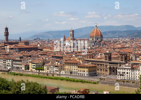 A view taken from the vantage point of  the MichelAngelo square and focusing the Florence historical centre. - Stock Photo