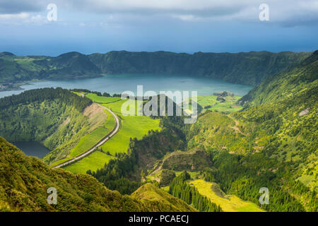 View over the Sete Cidades crater, Island of Sao Miguel, Azores, Portugal, Atlantic, Europe - Stock Photo