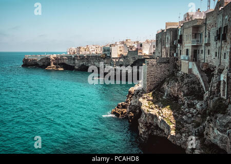 sea village cliff Polignano a Mare - Bari - Apulia - Italy - Stock Photo