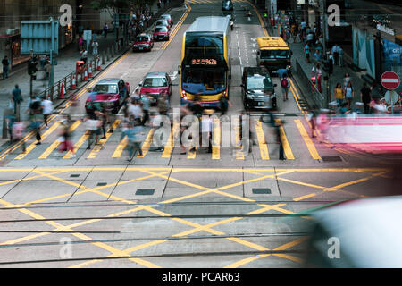 Central, Hong Kong, 27 July 2018: People walking on Des Voeux Road Central - Stock Photo