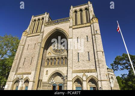 Christ Church Cathedral, Anglican Church Building Exterior in Victoria BC City Center on Vancouver Island - Stock Photo