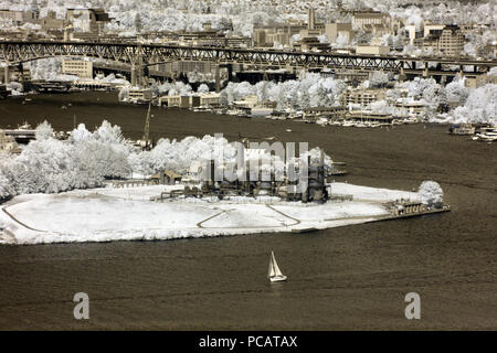 View of Lake Union and Gas Works park, Seattle. - Stock Photo