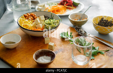 Cooking bowl buddha of spiralized vegetables. Healthy food clean eating concept - Stock Photo
