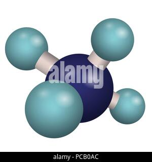 Chemical formula of methane. 3D model molecule CH4. Vector illustration. - Stock Photo