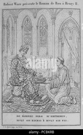 640 Wace illustration Roman de Rou 1824 - Stock Photo