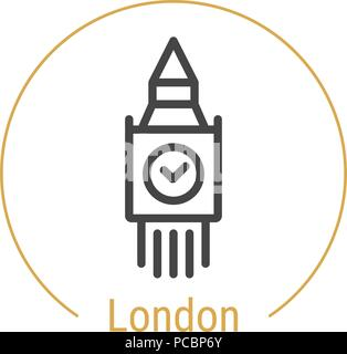 London, Great Britain Vector Line Icon - Stock Photo