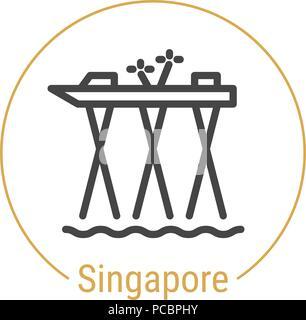 Singapore, Singapore Vector Line Icon - Stock Photo