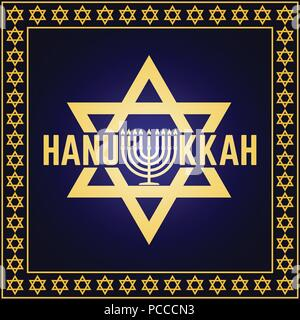 Happy Hanukkah greeting card. Typography design. Candlestick with nine candles. Vector illustration. Card with text and Hanukkah menorah. Concept for  - Stock Photo