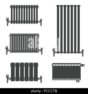 Central Heating Radiators silhouette icons for web and mobile, modern minimalist flat design. Vector black icon on white background. Set of heating ra - Stock Photo