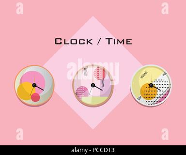 clocks with memphis style design over pink background, colorful design. vector illustration - Stock Photo